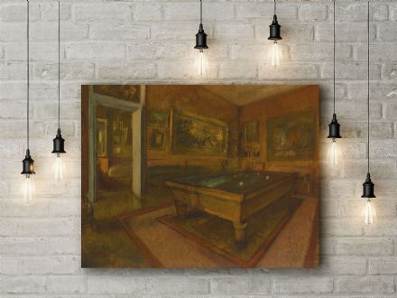 Edgar Degas: Billiard Room at Ménil-Hubert. Fine Art Canvas.